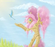 16035 - artist-YoorPorick fluttershy fluttertree leafing the dream pooryorick tree