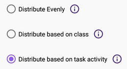 A checkbox for automatic allocation is checked. There is a radio button list below it containing the options described in this page.
