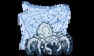 A white spider guards a web