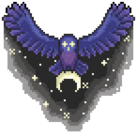 An owl flying through the night sky, its eyes glowing.
