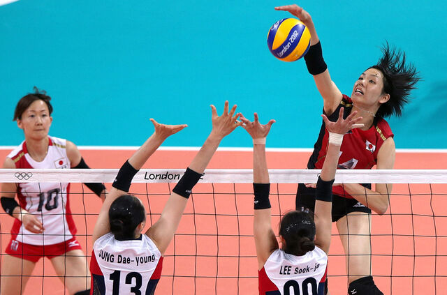 File:Olympics 2012 London-Women's Volleyball- Japan spikes the ball agianst Korea.jpg