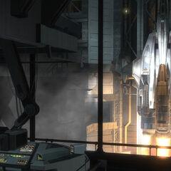 发射设施内部的另一个视角下的军刀战斗机。