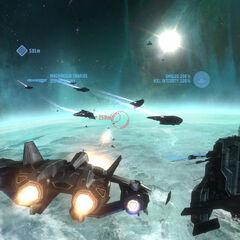 Noble6操控军刀战斗机时他的抬头显示器(显示界面)。
