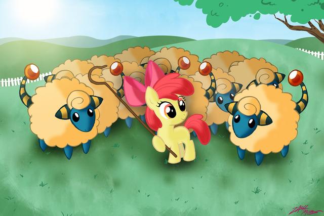 File:54360 - apple bloom artist willdrawforfood1 crossover mareep pokemon.png