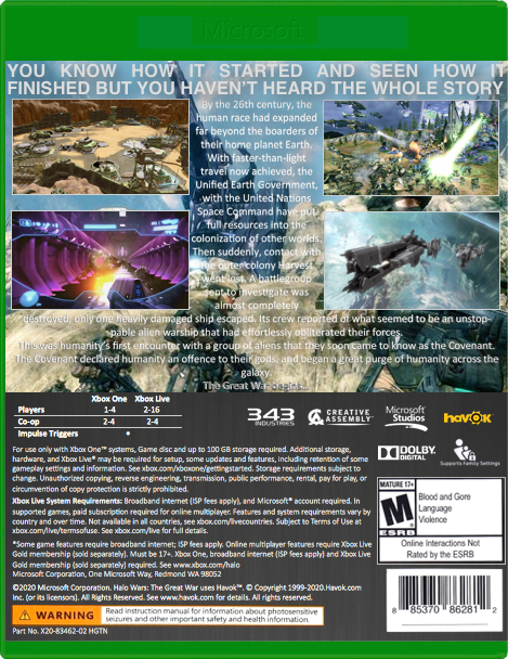 Xbox One Game Cover Back Image - Halo Wars - Th...