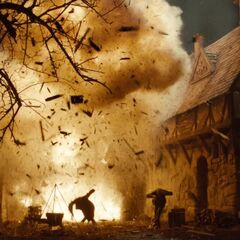 A house explodes.