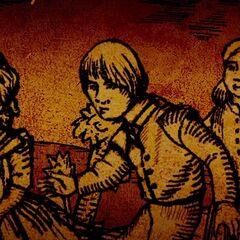 Hansel & Gretel with a little girl avoiding  a witch.
