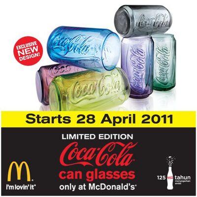 McD Malaysia Coca-Cola can glasses 2011
