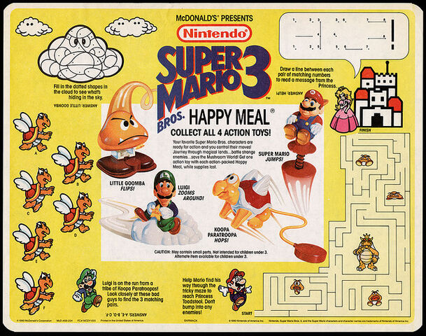 File:McDonald's Trayliner Placemat -Super Mario Bros. 3 Happy Meal 1990.jpg
