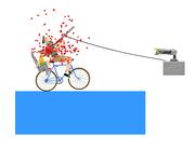 Happy Wheels harpoon gun with rope in action