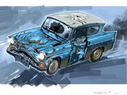 Disfigured Flying Ford Anglia (Concept Artwork for the HP2 movie) 01