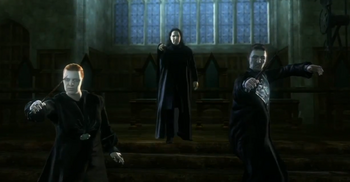 Snape orders Alecto and Amycus to battle Harry