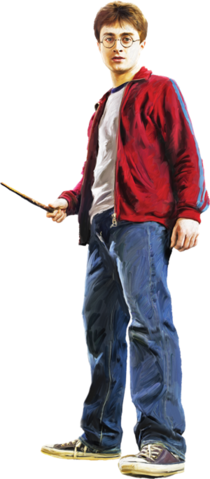 File:Harry in Street Clothes with Wand (Painting) - Harry Potter and the Half-Blood Prince™.png