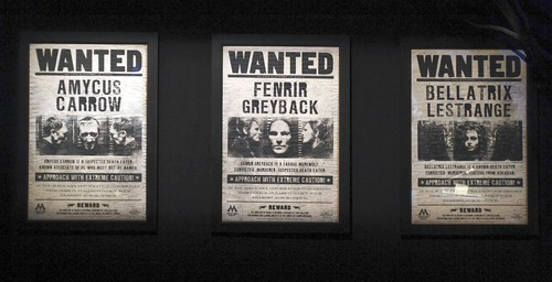 File:Wanted posters of Amycus Carrow, Fenrir Greyback and Bellatrix Lestrange.jpg