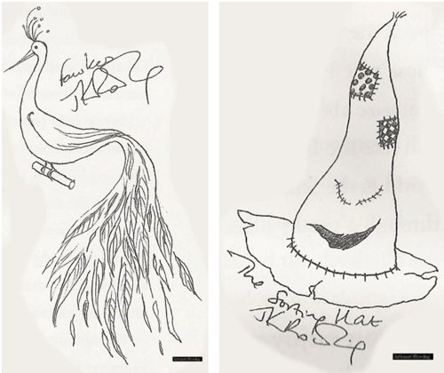File:Sketches of Fawkes and the Sorting Hat by JKR from Conversations With J.K. Rowling.png