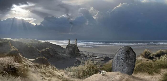Dobby's grave and Shell Cottage concept artwork