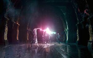 Dumbledore dueling Voldemort