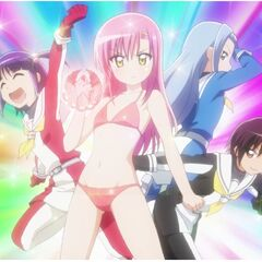 Hinagiku and the student council trio shown in a trading card