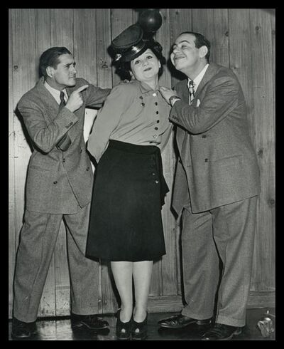 Mae Questel voice of Olive Oyl with Jack Mercer Popeye and Sid Raymond