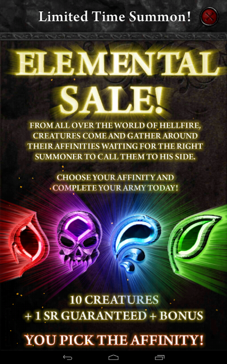 Elemental Sale Limited Time Summon