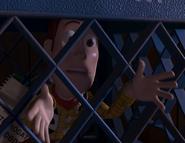 Woody encouraging Buzz