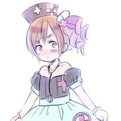 Wy in a nurse costume.