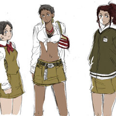 Three other styles of the Africa Class girls' uniform.