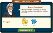 Quest Okuni's Fan Part Two 10-Rewards