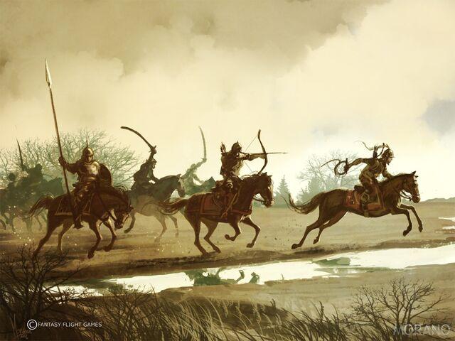 Archivo:Guerreros Dothraki by Tomasz Jedruzek, Fantasy Flight Games©.jpg
