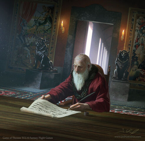 Archivo:Maestre Pycelle by Joshua Cairós, Fantasy Flight Games©.jpg