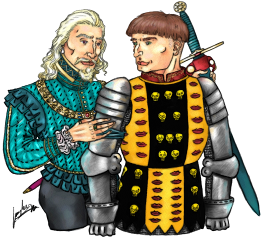 Archivo:Laenor Velaryon and Jeoffrey Lonmouth by Oznerol-1516©.png