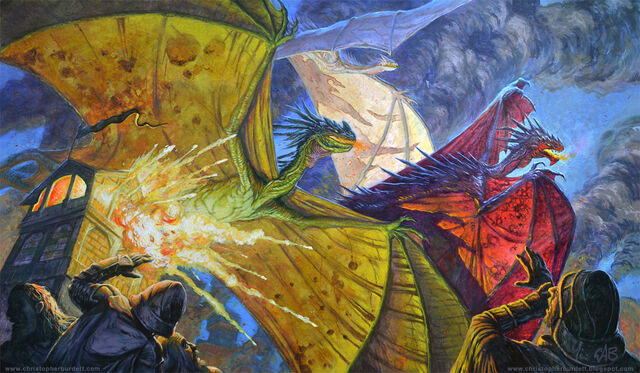 Archivo:Los Tres Dragones by Chris Burdett, FFG©.jpg
