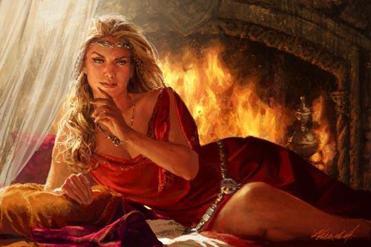 Archivo:Cersei Lannister by Michael Komarck, Fantasy Flight Games©.jpg