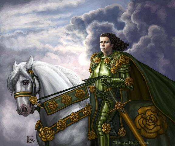 Archivo:The Knight of Flowers by Felicia Cano, Fantasy Flight Games©.jpg
