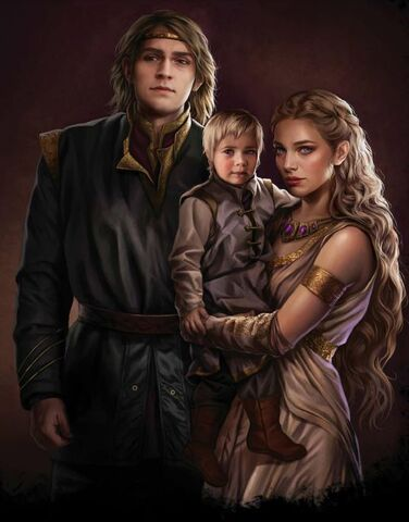 Archivo:The young Prince Aegon, with his parents, Prince Viserys II and Larra Rogare by Magali Villeneuve©.jpg
