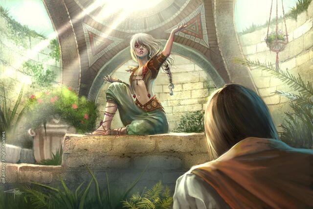 Archivo:Daenerys Targaryen Royal Favor by Caroline Eade, Fantasy Flight Games©.jpg