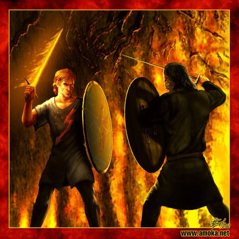 Archivo:Beric Dondarrion vs Sandor Clegane by Amoka©.jpg