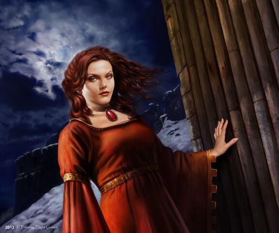 Archivo:Melisandre by Tiziano Baracchi, Fantasy Flight Games©.jpg