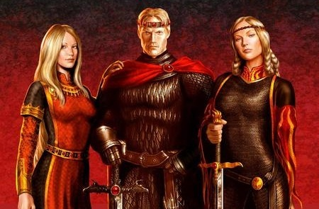 Archivo:Rhaenys, Aegon y Visenya Targaryen by Amoka©.jpg