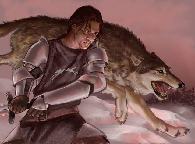 Archivo:Robb Stark y Viento Gris by Veronica Jones, Fantasy Flight Games©.jpg