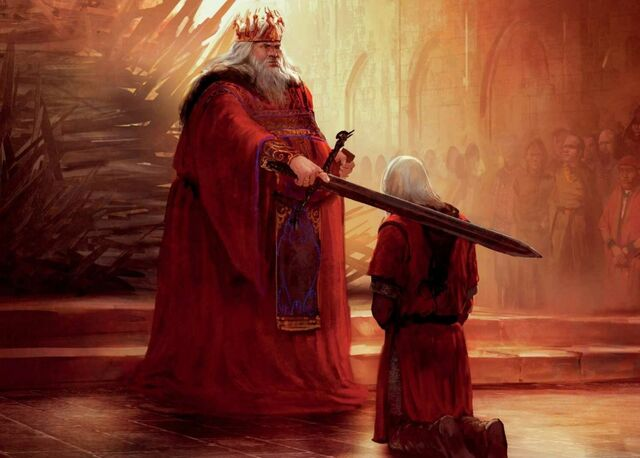 Archivo:The knighting of Daemon Blackfyre by his father, King Aegon IV by Marc Simonetti©.jpg