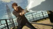 Takashi uses the fire hose