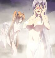 The girls startled at Issei's intrusion