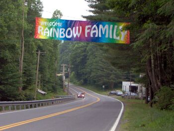 Rainbow Gathering welcome road sign