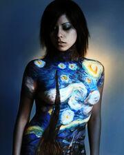 Starry night body painting
