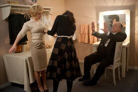 """Scarlett Johansson as """"Janet Leigh"""" and Anthony Hopkins as """"Alfred Hitchcock"""" on the set of HITCHCOCK. Photo By Suzanne Tenner"""
