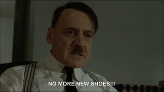 Eva tells Hitler she wants some new shoes