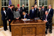 Signing an executive order on the Employment of Veterans in the Federal Government