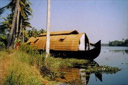 കെട്ടുവള്ളം..... A houseboat moored on the backwaters...