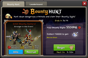 Event Bounty Hunt window